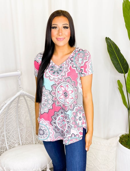 Sew In Love - Short sleeve floral v-neck top