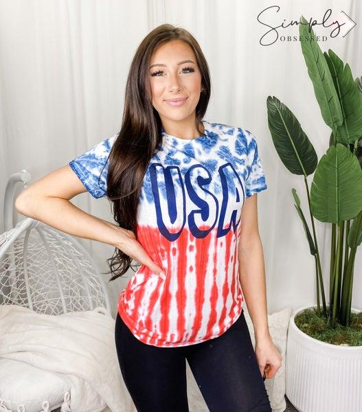 Colortone - USA graphic tie dye top(plus)