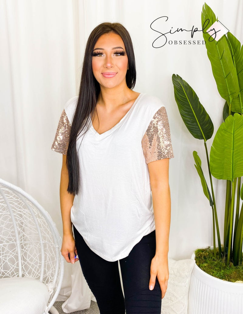 Solution - Sequin sleeve deep v neck knit top