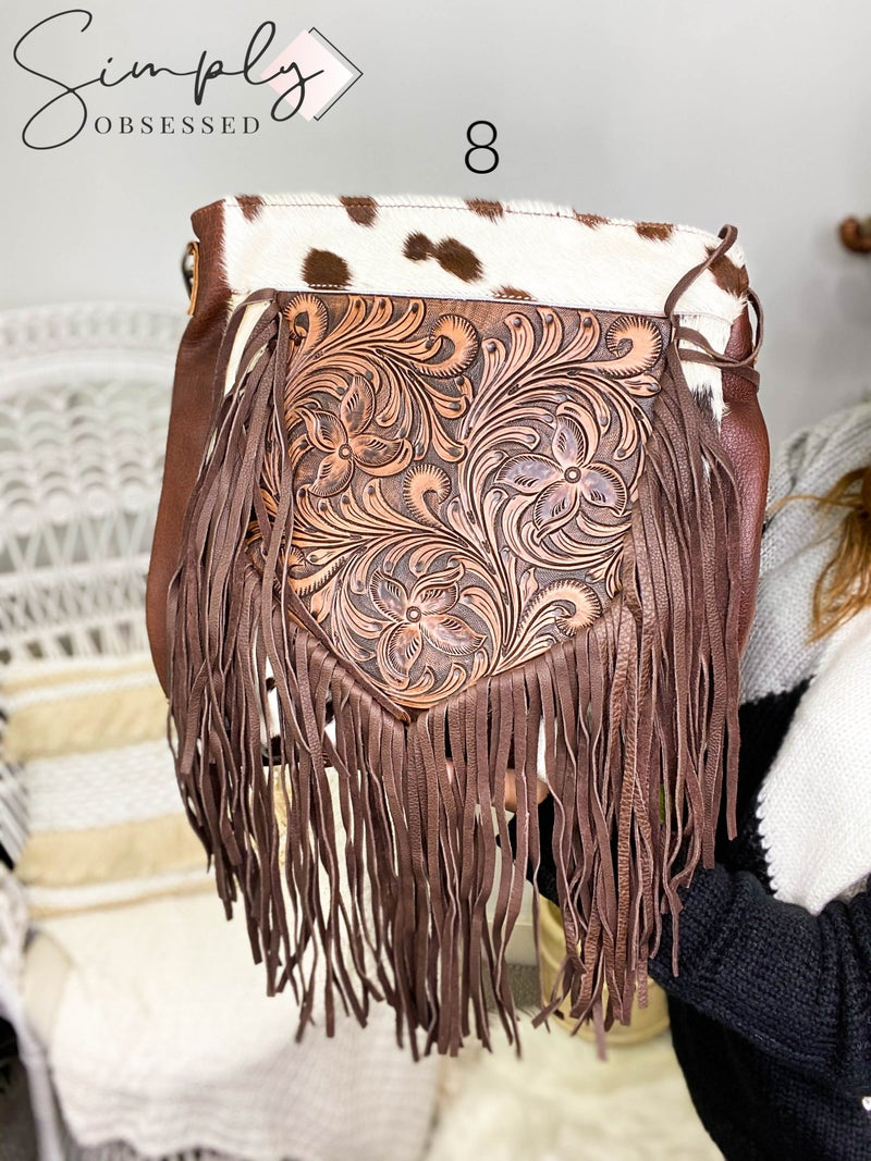 American Darling - Tassel detail hand crafted leather work hand bag