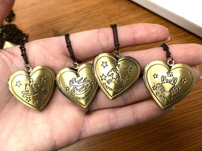The Encore Fashion Group - Burnished Gold Horoscope Heart Pendant Necklace