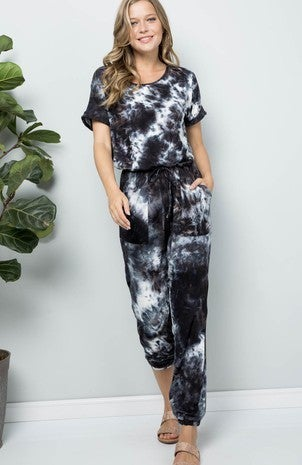 Adele B. - Soft Tie dye Short Sleeve Jumpsuit
