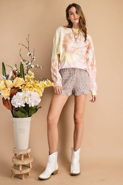 Easel - All Over Crochet Knitted Shorts