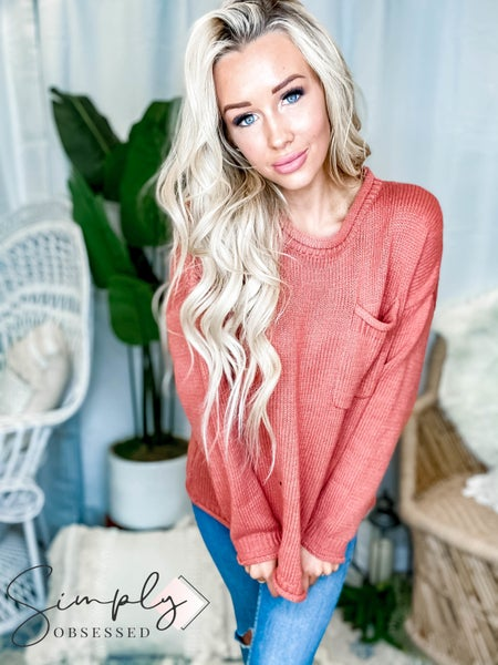Easel - Round neck long sleeve pocket detail knit top