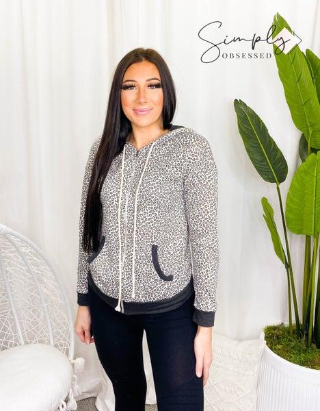 7th Ray - Animal print zip up hoodie