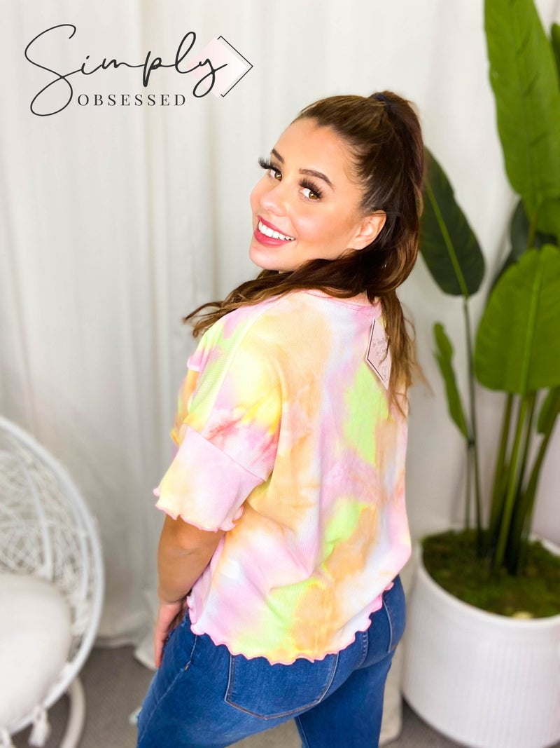 Fantastic Fawn - Tie dyed short sleeve knit layered top
