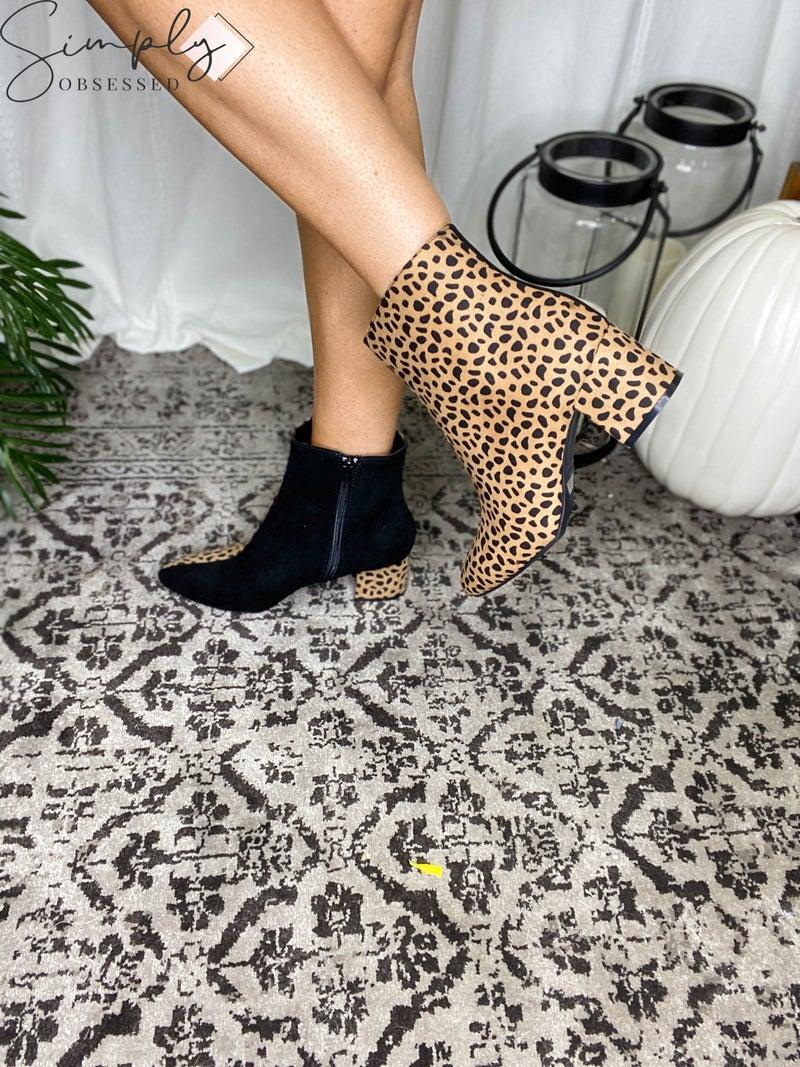 Bamboo - Pointed toe chunky heeled dressy booties