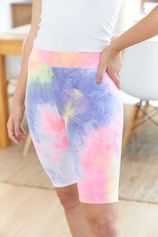 White Birch - Tie dye knit biker shorts