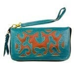 Leaders In Leather - Scroll cutout zip around wallet with wristlet