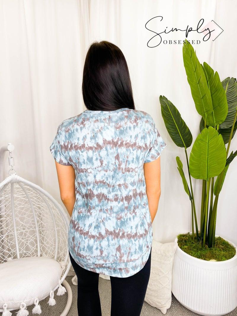 Flamingo - Tie dye short sleeve round neck top(plus)