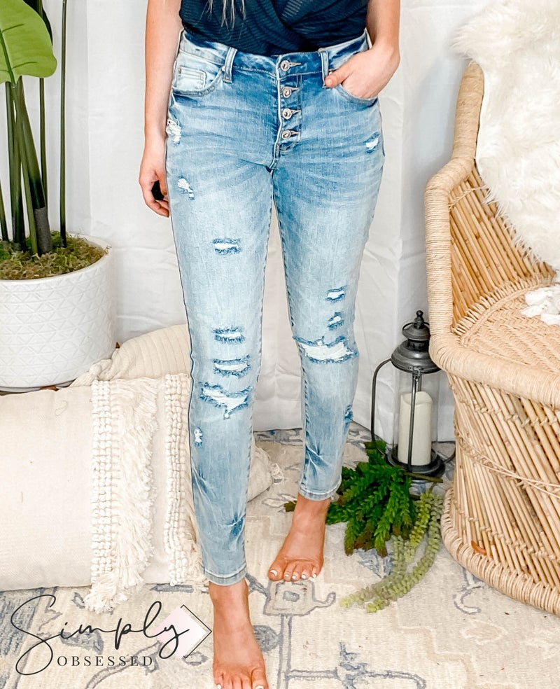 Special A - Distressed Mid Rise Skinny with Button Fly