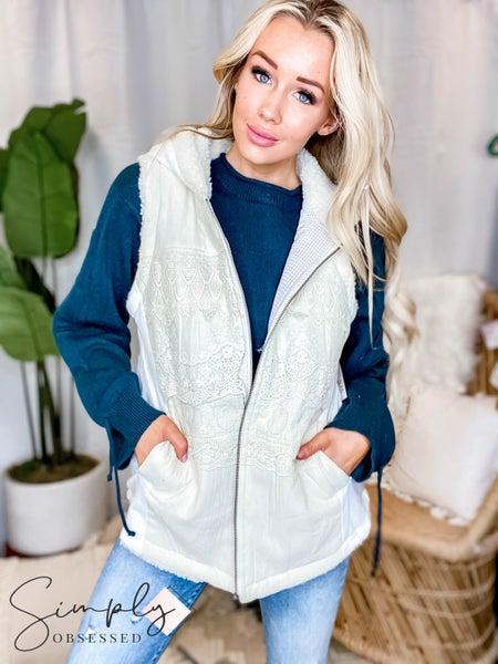 Oddi - Hooded Zip Up Front Vest w/ Crochet Detailing