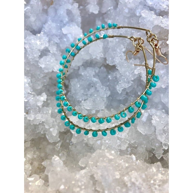 FAIRE - Turquoise Seed Bead Gold Hoops