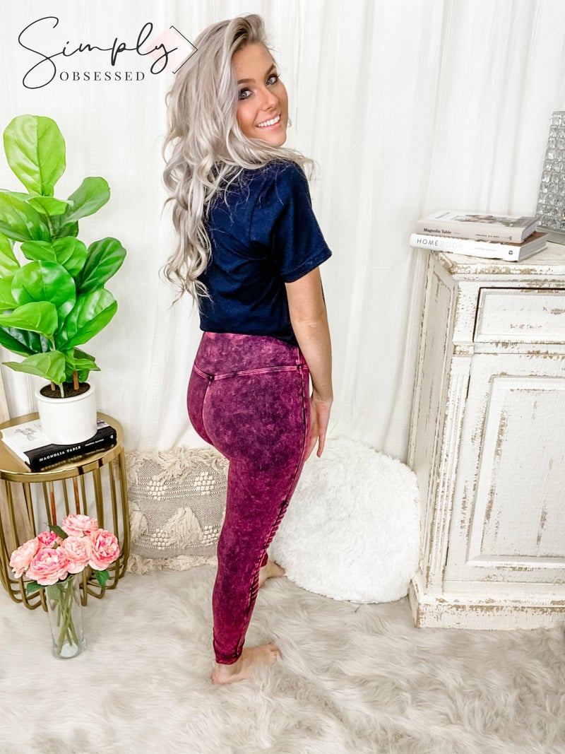 Mineral washed wide waist band moto leggings(plus)