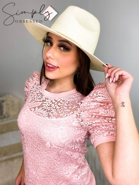 Lizette Collection - Short ruffled sleeve lace top