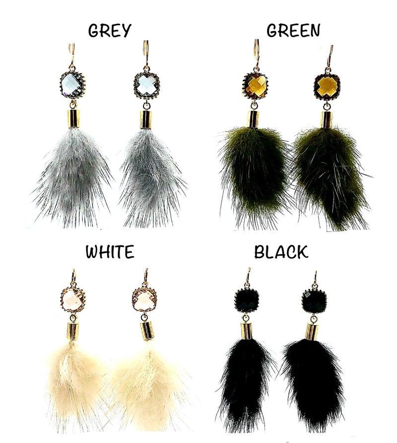 LAALEE - Faux Fur Earrings with Stone