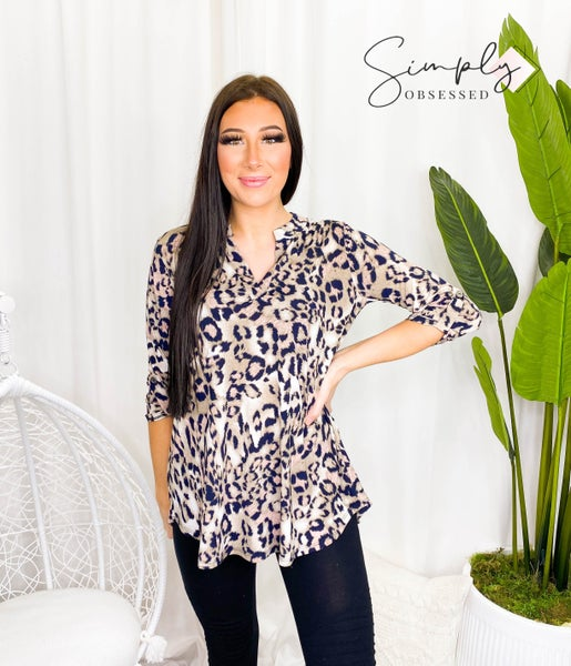 Sew In Love - Loose fit long sleeve animal print v-neck top