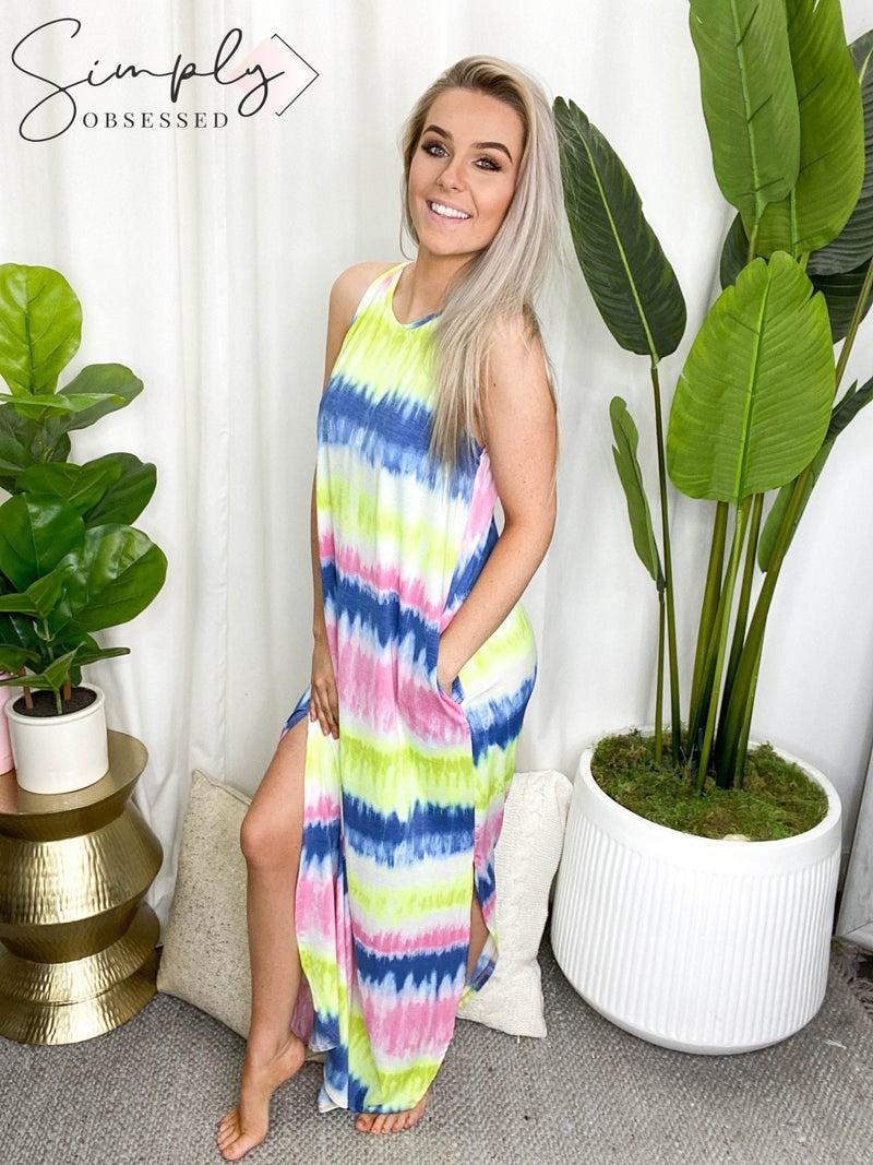 Heimish - Sleeveless Round Neck Tie Dye Print Maxi Dress
