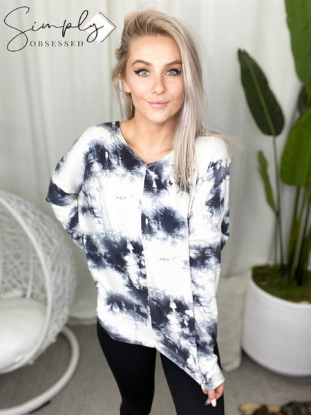 HONEY ME-V NECK TOP WITH LONG SLEEVE