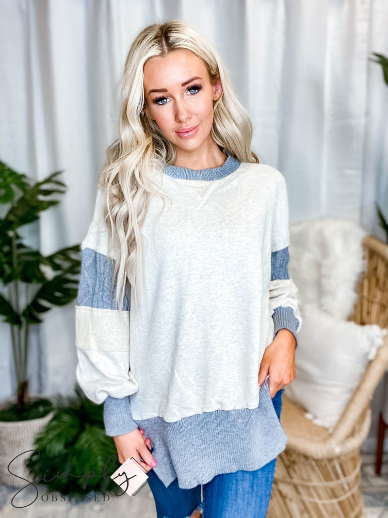 Pol - Round neck long sleeve contrast knit sweater