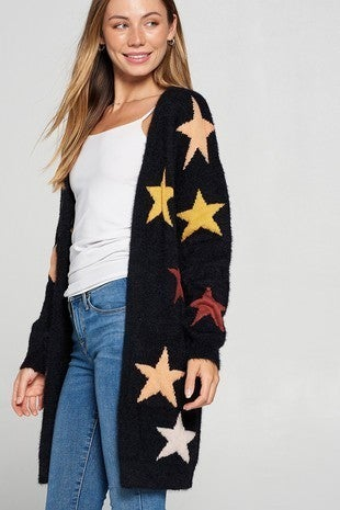 Davi & Dani - Star Print Accent Thick Knit Front Open Sweater Cardigan