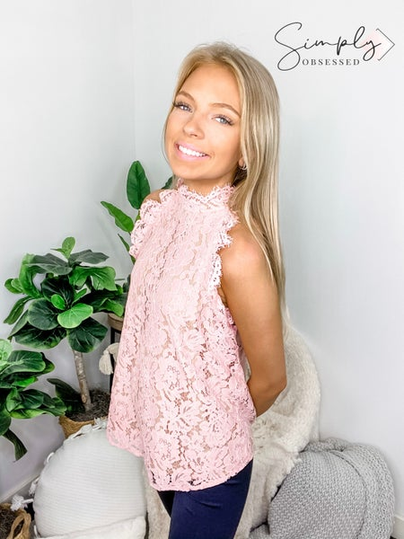 EE:Some- Sleeveless floral lace top