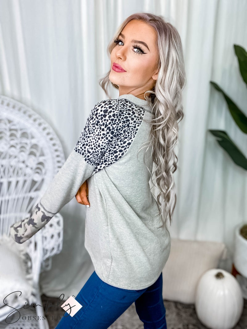 Vanilla Bay - Long sleeve brushed top with leopard print and camo detail