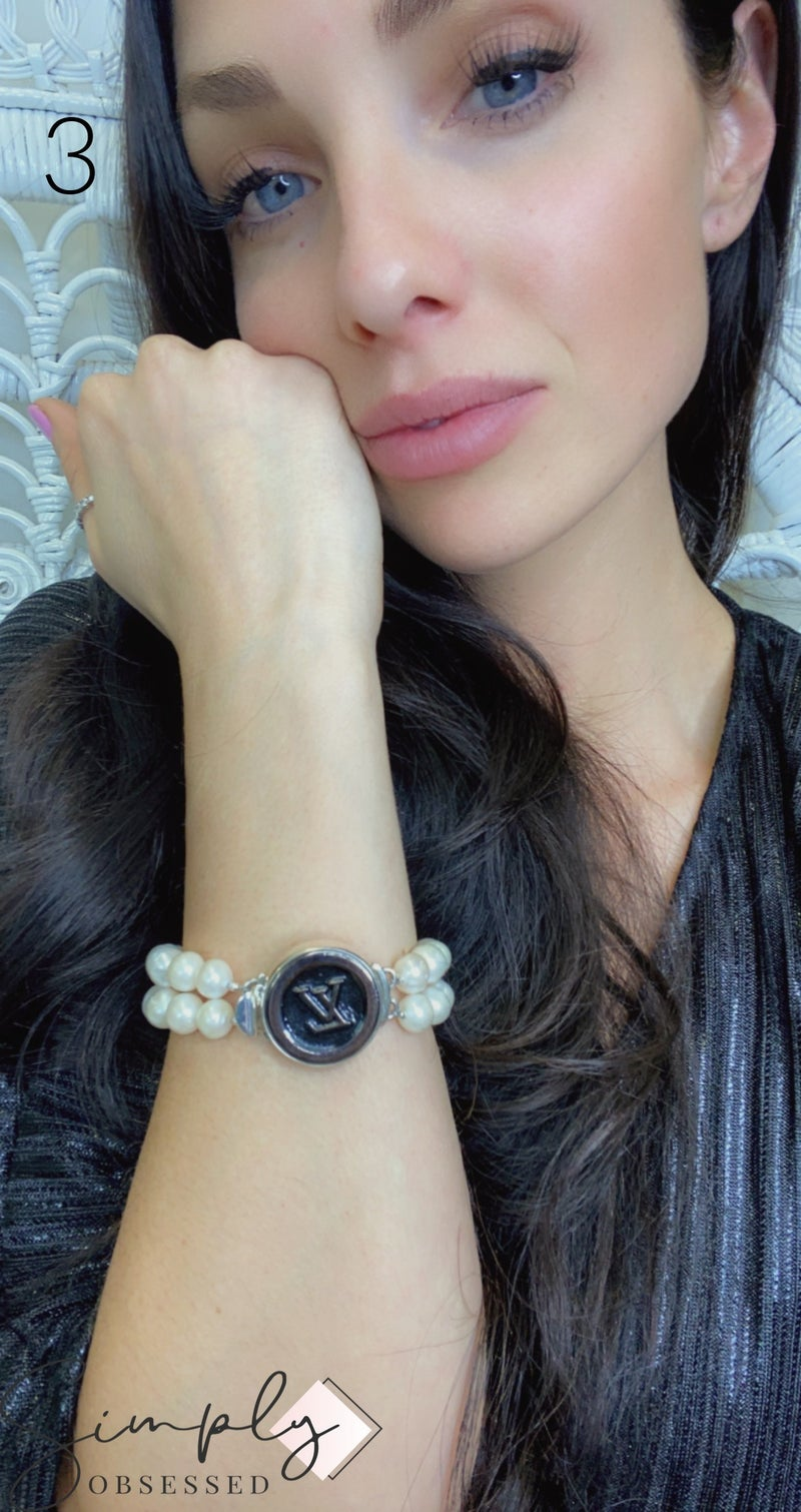 BJB - Pearl Double Strand Bracelet With Button