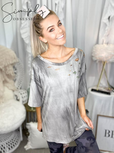 Blue Buttercup - Distressed dyed Short sleeve top