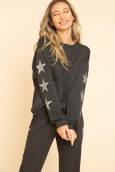 BLUE BUTTERCUP-Silver glitter stars printed on sleeve sweatshirts