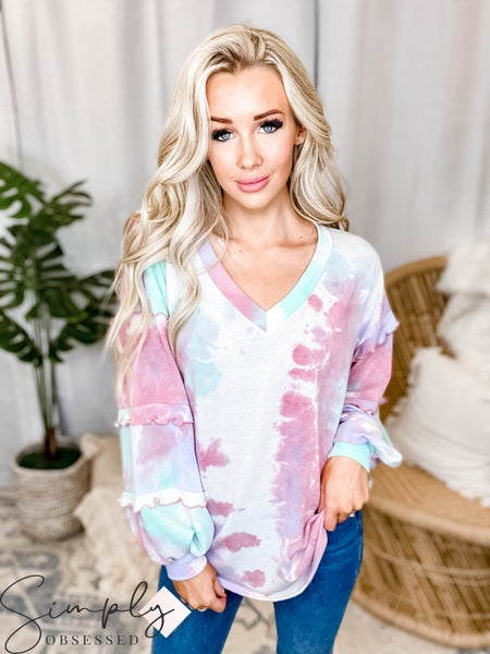 143 Story - Tie dye v neck top with ruffle sleeve detail