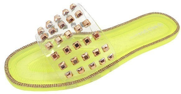 Wild Diva - Studded Strap Jelly Sandals