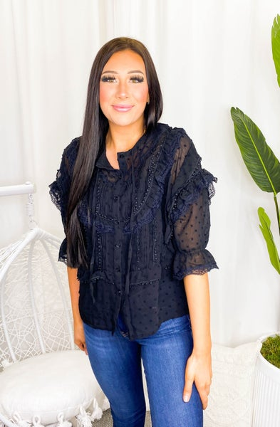POL Clothing Inc-Quarter Sleeve Button Up Blouse