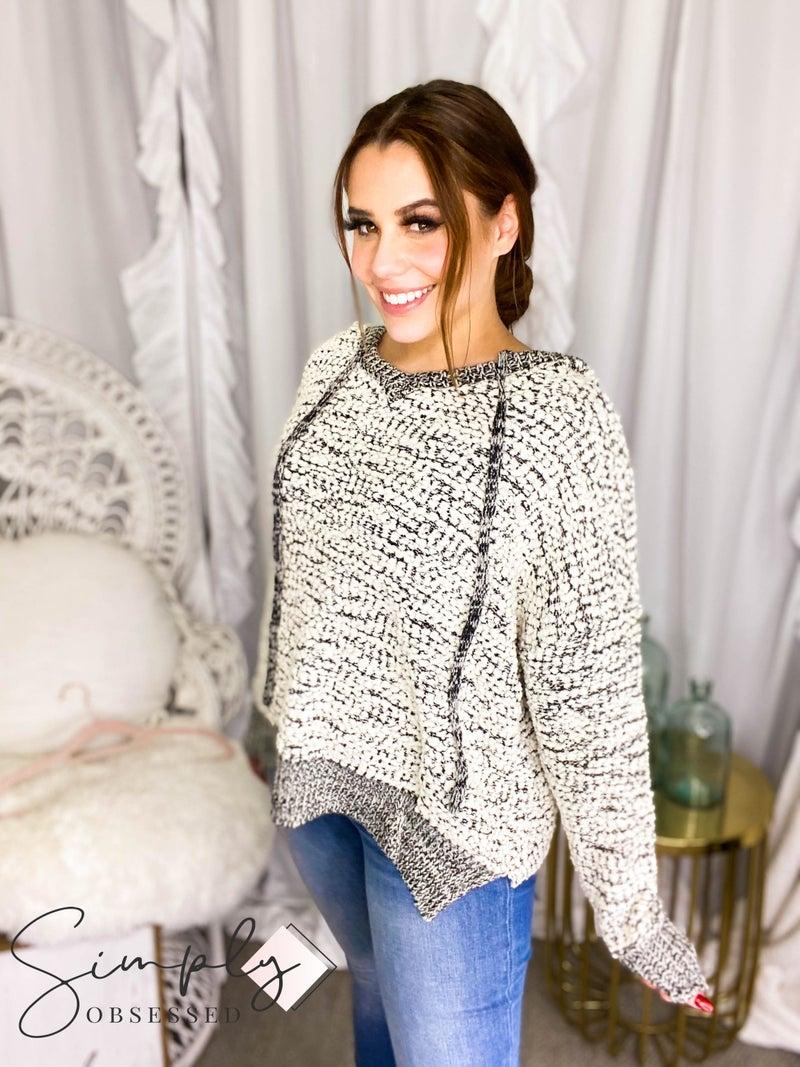 Avvio La - Long sleeve soft knit hooded popcorn sweater