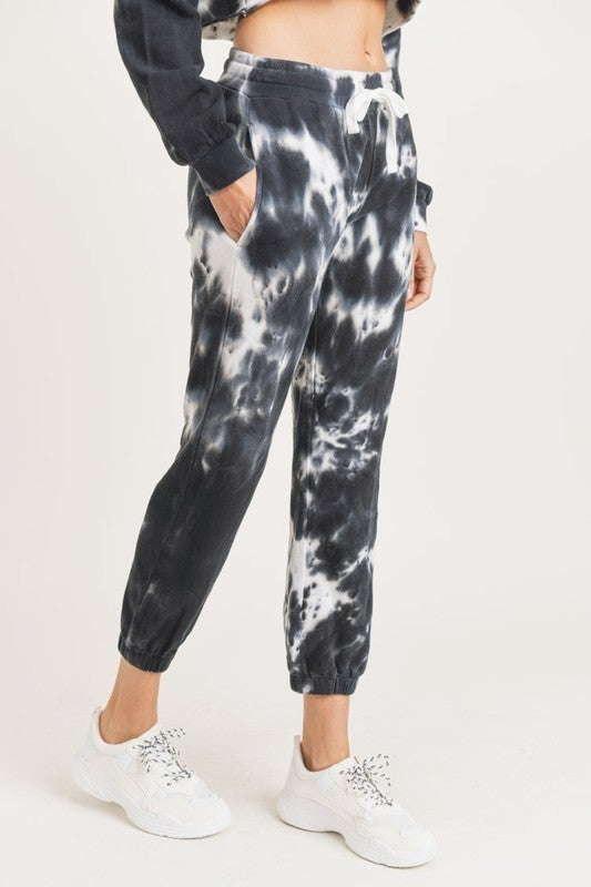 Mono B - Tie dye cotton terry joggers with cuffed ankles