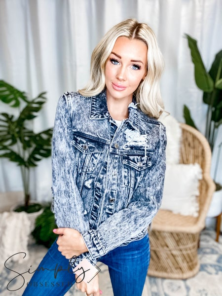Vervet - Distressed patched classic fit jacket