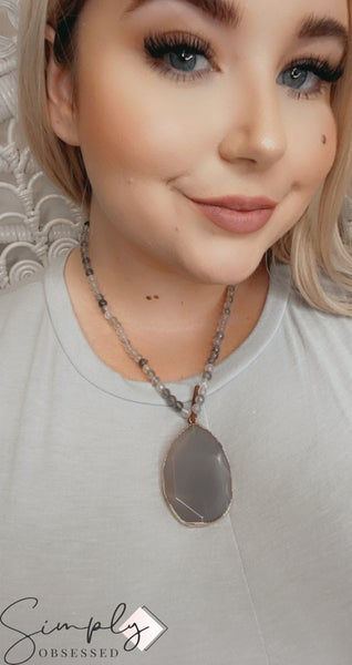 """HANDMADE BEAD AND PENDANT 20"""" NECKLACE WITH GRAY BEADS"""