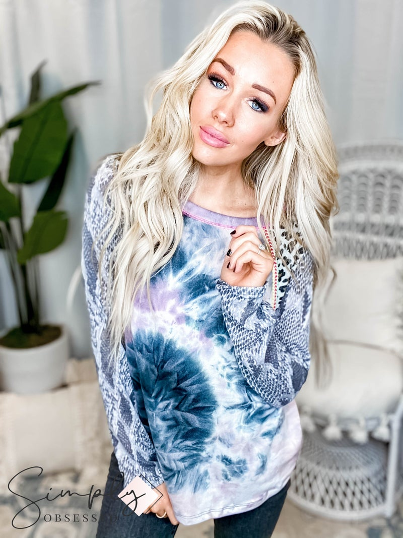 Oddi - Long sleeve tie dye knit top with leopard and python print(All Sizes)