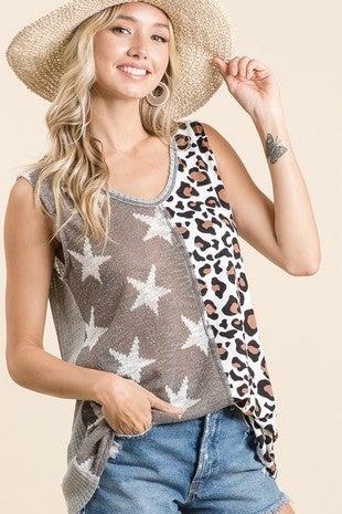 BiBi - Sleeveless half animal print half stars knit top