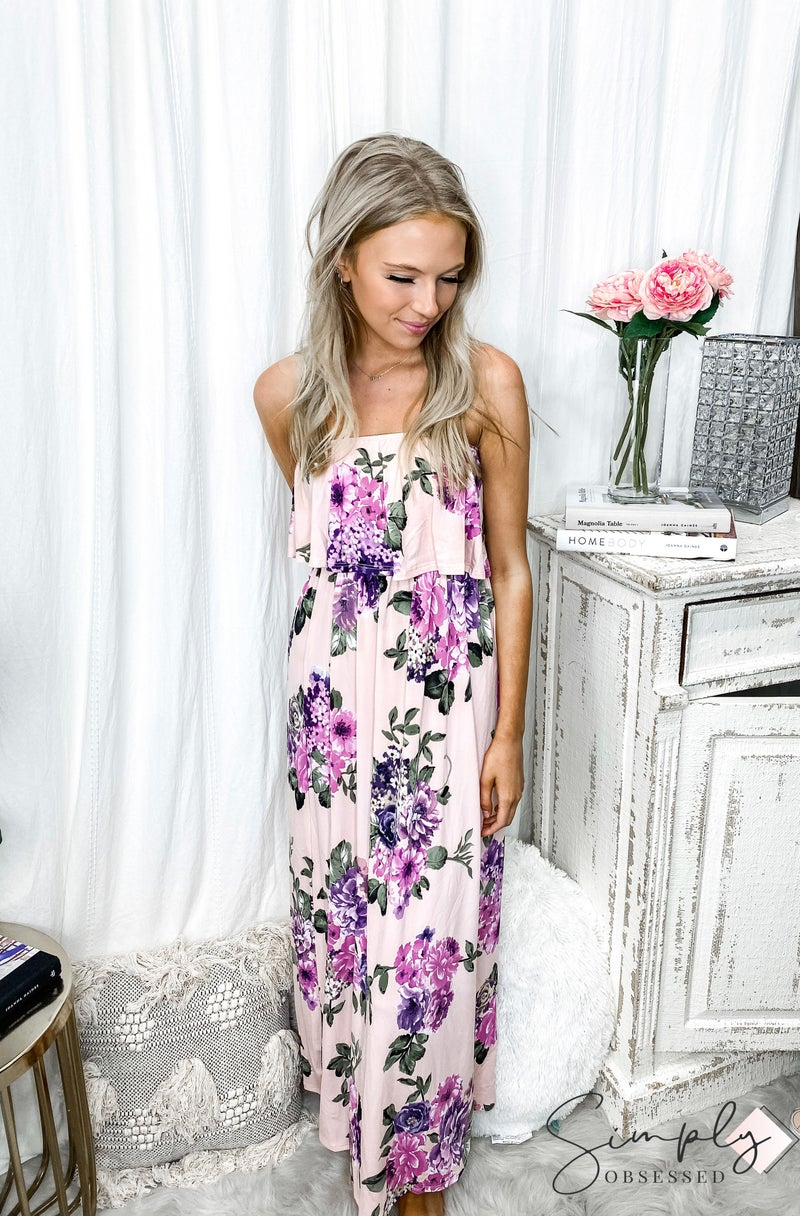 Urban Chic - Ruffle layered tube top floral maxi dress