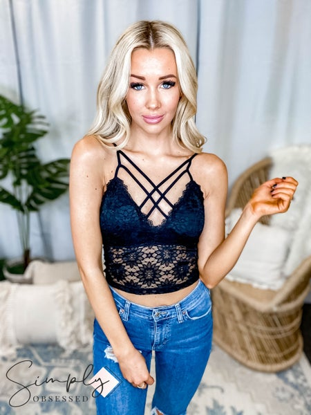 Yahada - Crisscross Front Adjustable Strap Extended Lace Padded Bralette