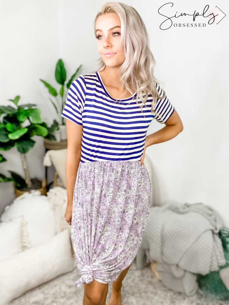 SEW IN LOVE-Floral And Striped Dress