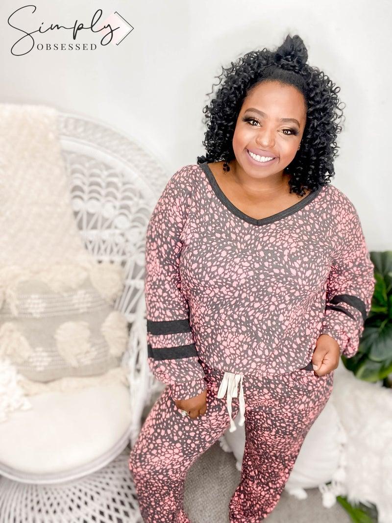 HoneyMe - Animal Print knit set(All Sizes)