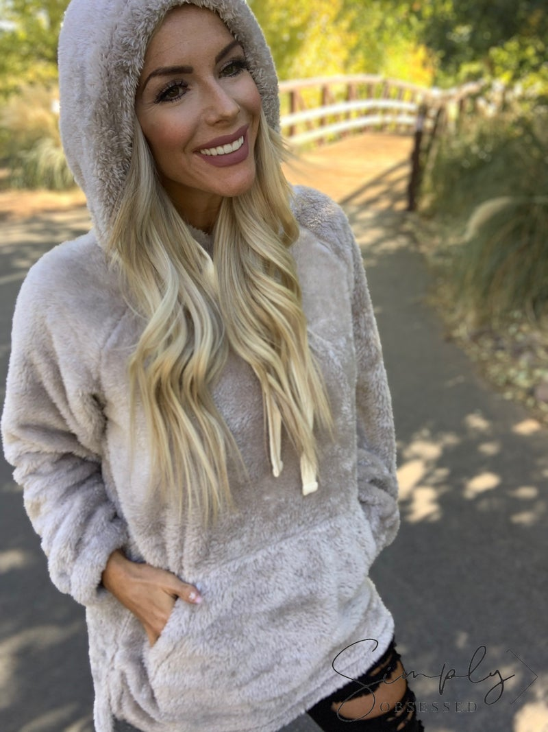 Hooded faux fur with kangaroo pocket pullover