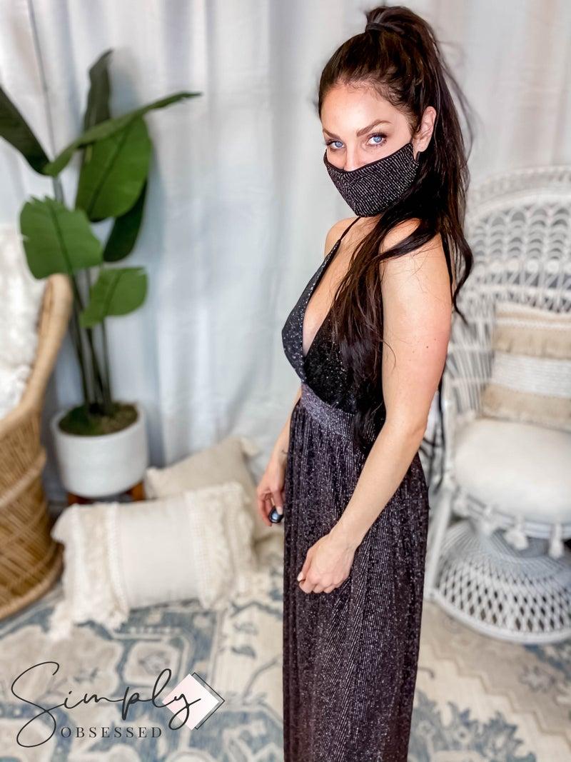Blumin - Maxi glitter long dress with matching mask