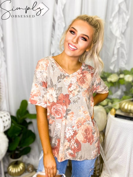 Sew In Love - Short rolled sleeve floral v-neck top (all sizes)