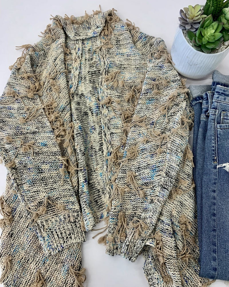 Very Moda- Fringe tassel sharkbite cardigan