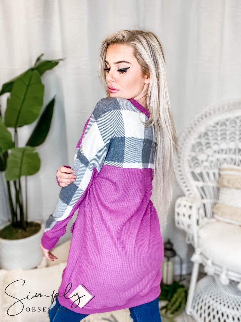 White Birch - Long sleeve solid waffle knit sweater dress