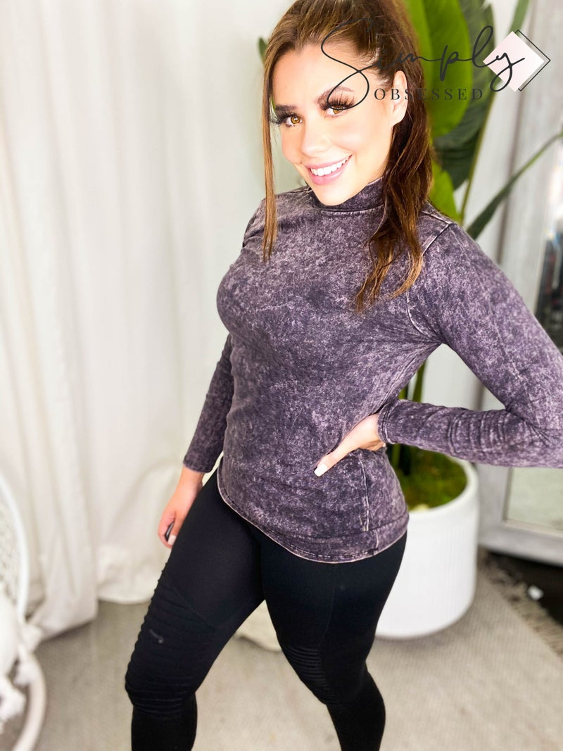 MIneral washed long sleeve mock neck top (Black Friday)