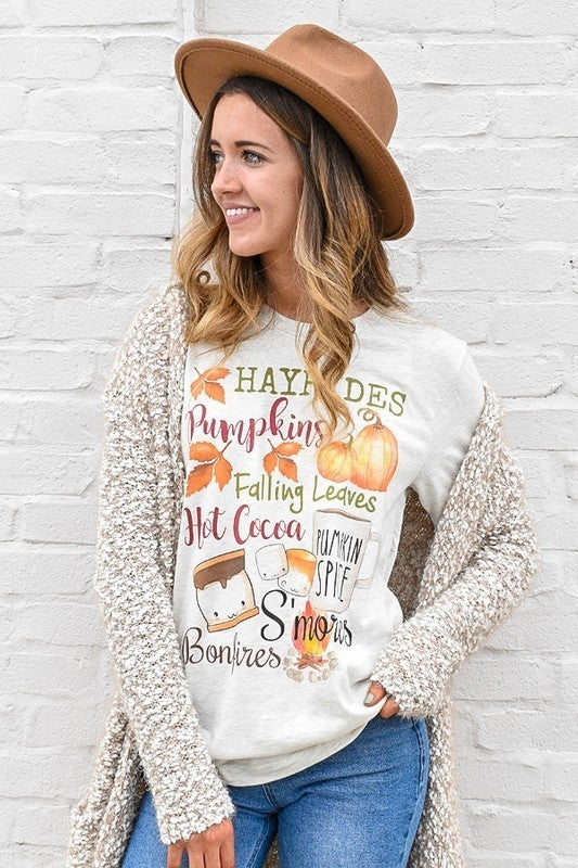 """Glittering South - """"Hayrides Pumpkins Fall Leaves Hot Cocoa Pumpkin Spice Smores Bon Fires"""" graphic top"""